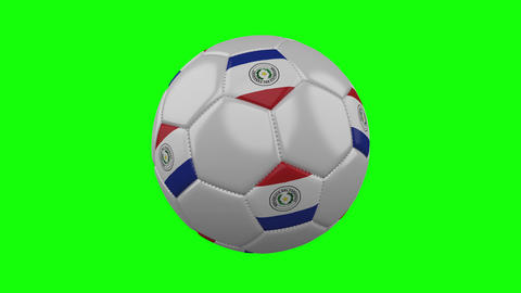 Soccer ball with Paraguay flag on green chroma key background, loop Animation