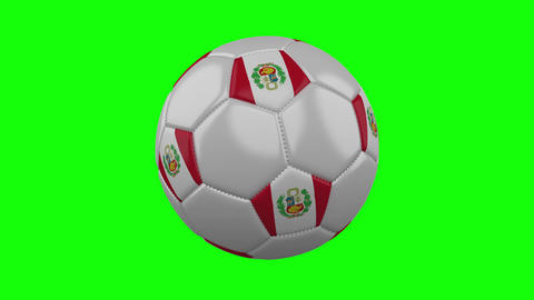 Soccer ball with Peru flag on green chroma key background, loop Animation