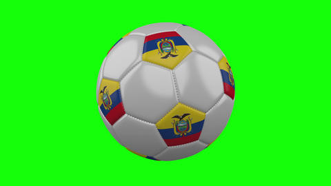 Soccer ball with Ecuador flag on green chroma key background, loop Animation