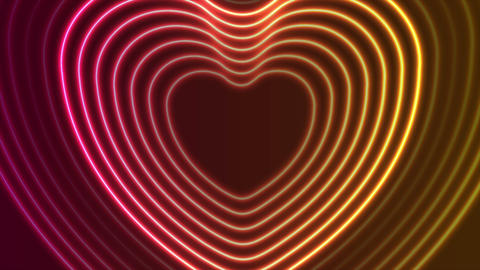 Neon glowing laser heart shape video animation Animation