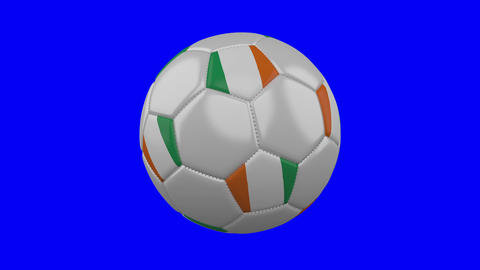 Soccer ball with Cote d'Ivoire - Ivory Coast flag on blue chroma key, loop Animation