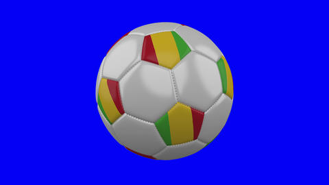 Soccer ball with Mali flag on blue chroma key background, loop Animation