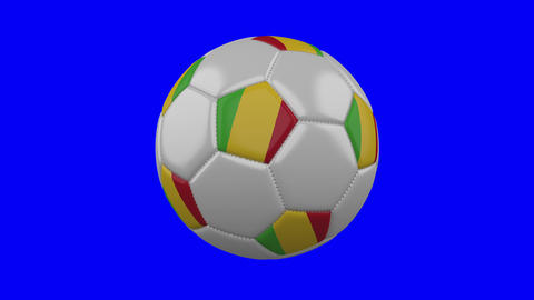 Soccer ball with Mali flag on blue chroma key background,... Stock Video Footage