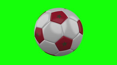 Soccer ball with Morocco flag on green chroma key background, loop Animation