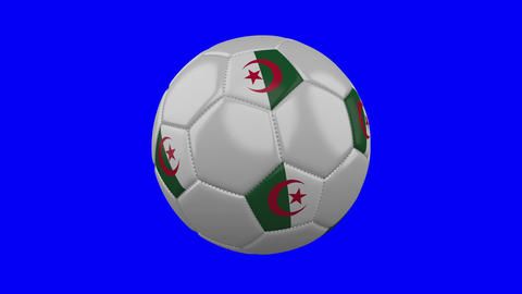 Soccer ball with Algeria flag on blue chroma key background, loop Animation
