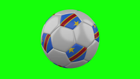 Soccer ball with Congo DR flag on green chroma key background, loop Animation