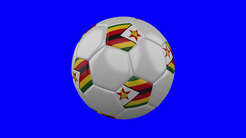 Soccer ball with Zimbabwe flag on blue chroma key background, loop Animation