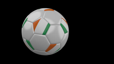 Soccer ball with flag Cote dIvoire - Ivory Coast, slow motion blur, 4k footage with alpha channel Animation