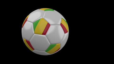Soccer ball with flag Mali, slow motion blur, 4k footage with alpha channel Animation