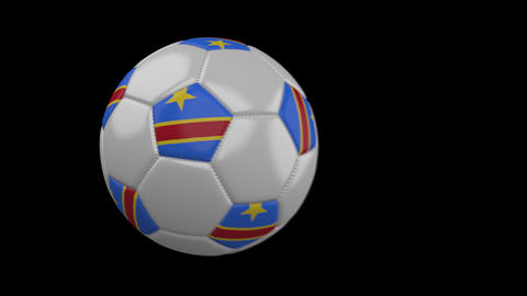 Soccer ball with flag Congo DR, slow motion blur, 4k footage with alpha channel Animation