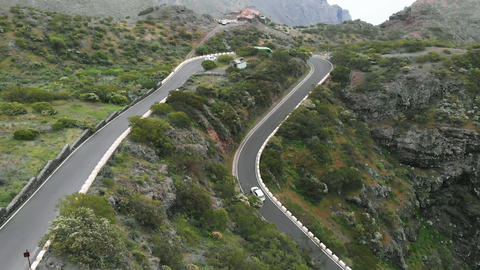 Aerial view. Narrow serpentine, in which it is difficult to drive cars towards Footage