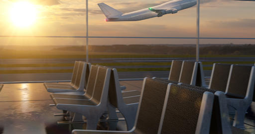Airplane taking off against sunset sky seen through departure lounge windows Animation
