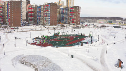 playground cleaned from show in young park aerial view Footage