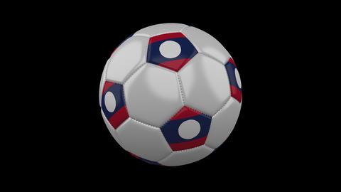 Soccer ball with flag Laos, loop, 4k with alpha Animation