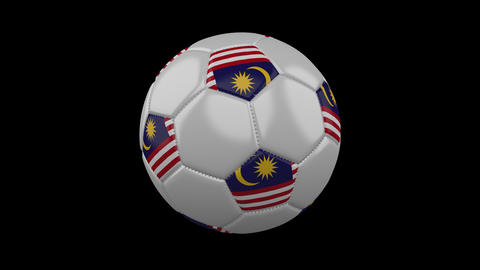 Soccer ball with flag Malaysia, loop, 4k with alpha Animation