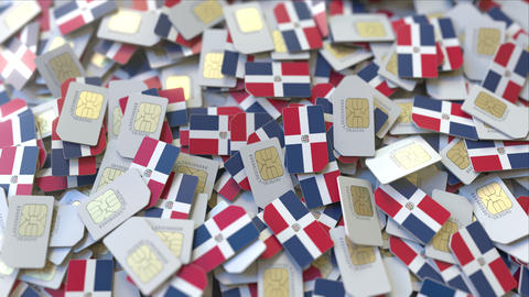 Pile of SIM cards with flag of Dominican Republic. Dominicana mobile ビデオ