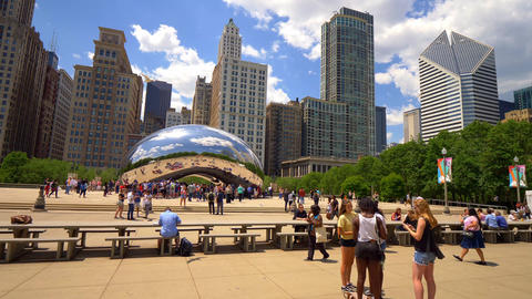 Famous Cloud Gate at Millennium Park in Chicago - CHICAGO. UNITED STATES - JUNE Footage