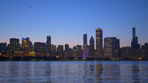 The beautiful skyline of Chicago in the evening Footage