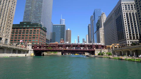 Architecture at Chicago River Footage