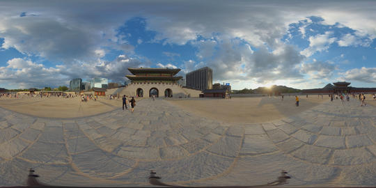 360 Degrees Panorama View Gyeongbokgung Palace and City Center in Seoul VR 360° Video