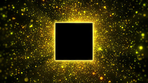 Gold particles with square copyspace background, looped Animation