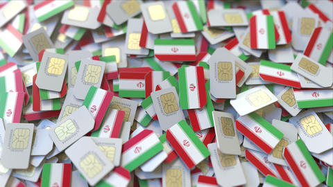 Multiple SIM cards with flag of Iran. Iranian mobile telecommunications GIF