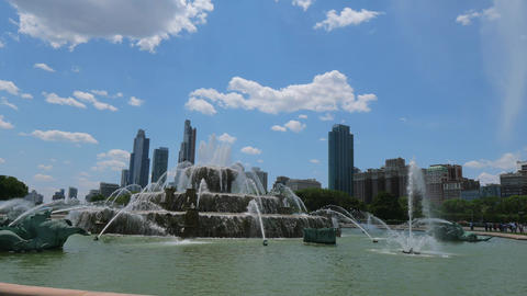 Famous Buckingham Fountain at Chicago Grant Park - CHICAGO, UNITED STATES - JUNE Footage