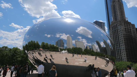 Millennium Park in Chicago with famous Cloud Gate - CHICAGO, UNITED STATES - Footage