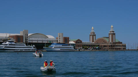 Chicago Navy Pier is a popular landmark at Lake Michigan Live Action