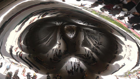 Famous Cloud Gate at Millennium Park in Chicago - CHICAGO, UNITED STATES - JUNE Footage