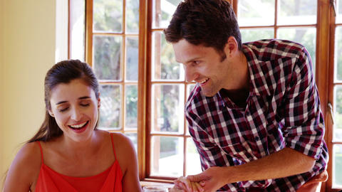 Romantic couple sitting at dining table Footage