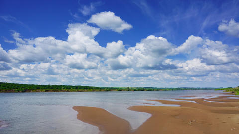 timelapse with clouds over river, 4k Footage