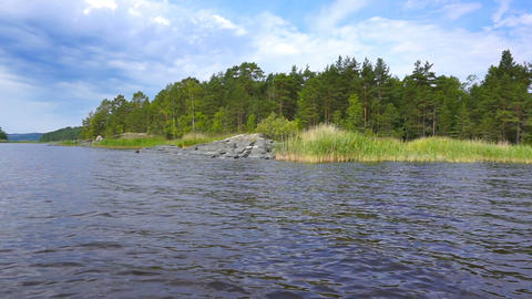 beautiful landscape on Ladoga lake in Karelia Footage