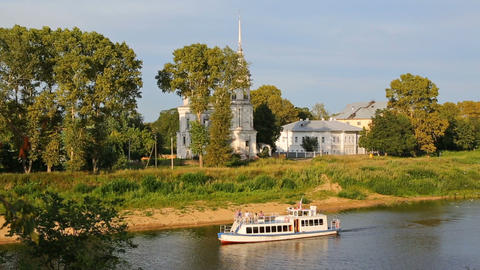 Pleasure boat floating on river in Vologda city Footage
