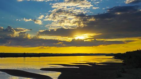 river sunset landscape, zoom in timelapse Footage