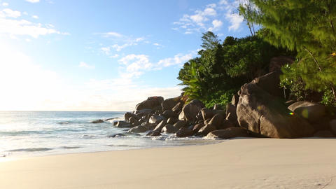 Tropical landscape of Anse Georgette, Seychelles Live Action