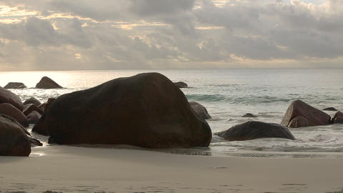 Typical coast of Anse Lazio, Praslin island in evening light Footage