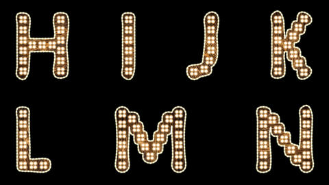 Alphabet Light Bulb Letters H-N with alpha-channel Animation