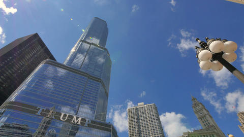 Chicago Trump Tower Skyscraper with with the Sun Back Lighting Footage
