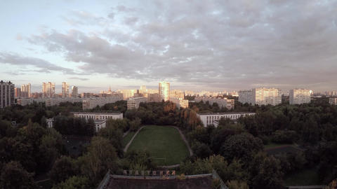 Houses with bird's-eye view in a residential area of Moscow, Russia Footage