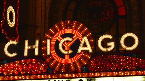 Chicago Bright Neon Theater Marquee at Night Footage