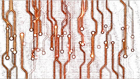 Abstract Technology Circuit Background - Loop Orange Animation