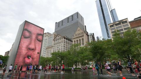 Crown Fountain in Millennium Park in Chicago Loop Footage
