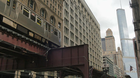 Elevated Metro in Chicago Loop Financial District Footage