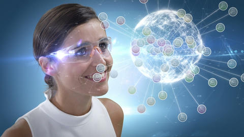 Smiling woman is using futuristic glasses CG動画
