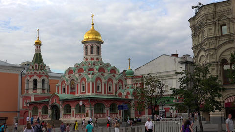 Kazan Cathedral on Red Square in Moscow. 4K Footage