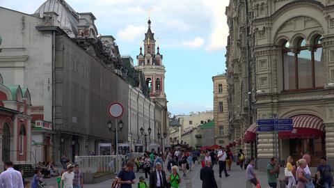Nikolskaya Street in Moscow. 4K Footage