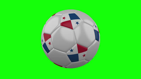 Soccer ball with Panama flag on green chroma key, loop Animation