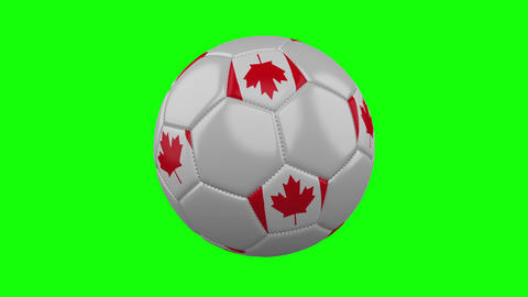 Soccer ball with Canada flag on green chroma key, loop Animation