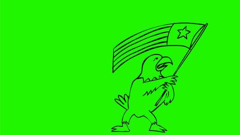 American Eagle Waving USA Flag Drawing 2D Animation Animation